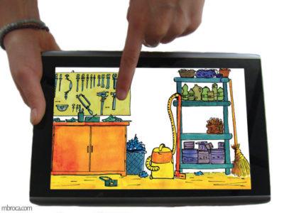Deux mains tiennent une tablette pour présenter une application numérique. Visuel : un garage.