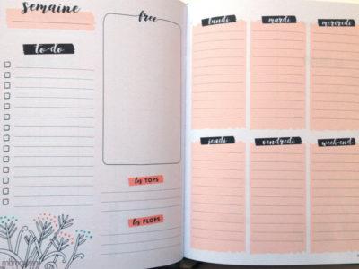 Une double page pour organiser sa semaine et avoir de la motivation.
