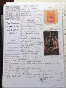 Une page de classeur avec des oeuvres d'arts.