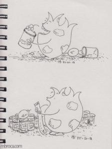 Un monstre mange de la confiture et un autre regarde une liste de courses.