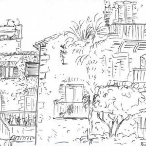 Une vue d'un village avec des maisons et des arbres.
