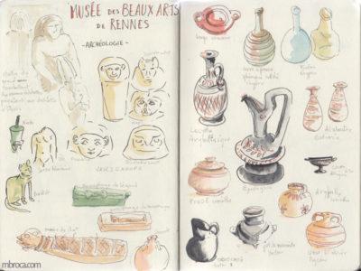 Carnet de voyage, objets égyptiens et céramiques antiques