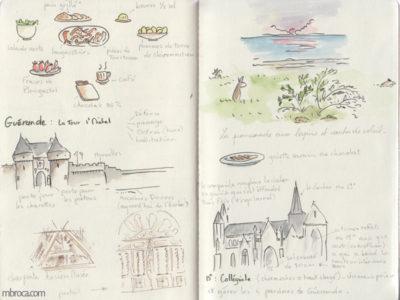 Carnet de voyage, repas, église, chateau, et coucher de soleil.