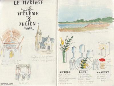 Carnet de voyage, église, paysage de plage et table de mariage.