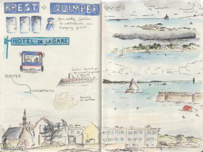 Carnet de voyage, ville et mer à Concarneau.