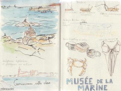 Carnet de voyage, mer et musée de la marine.