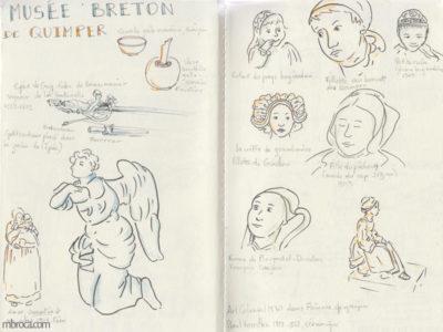 Carnet de voyage, sculptures de bretonnes avec coiffe.