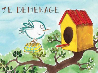 Un oiseau vole vers une cabane.