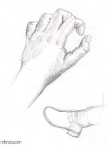 Mains et pieds déssinés.
