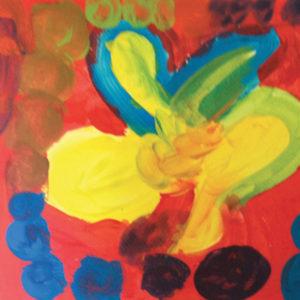 Mélanges des couleurs primaires : une fleur.