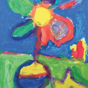 Mélanges des couleurs primaires : une fleur