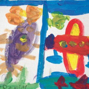 Mélanges des couleurs primaires : un personnage, un soleil et un avion