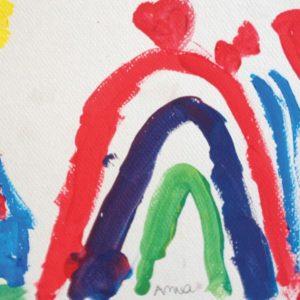 Mélanges des couleurs primaires : paysage, arc en ciel et maison