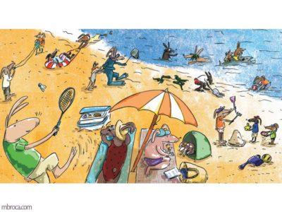 Des lapins qui sont à la plage. Certains sont dans l'eau, d'autres jouent dans l'eau.