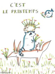 Un oiseau, un hérisson, un raton laveur, un renard et une souris, au milieu des fleurs.