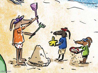 Trois lapins font des chateaux de sable.