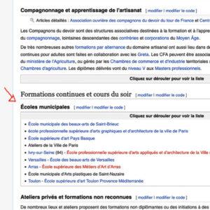 Liste Wikipédia des écoles d'arts plastiques municipales de France.