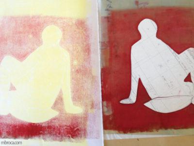 Une silhouette imprimée la matrice encrée.