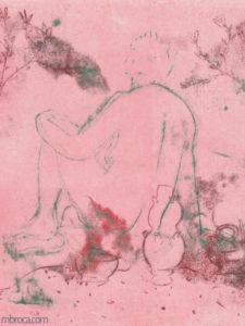 Gravure d'une femme de dos avec de la vaiselle.