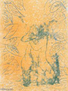 Gravure d'une femme de face, bras croisés, au milieu du feuillage.