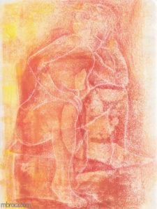 Gravure d'une femme, série contemplation.