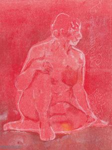Gravure d'une femme, série assise de face.
