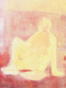Gravure d'une femme, série assise de dos..