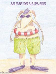 Merci Facteur, carte pour l'été, un lapin en maillot de bain.