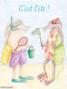 Carte merci facteur, deux lapins équipés pour la plage.
