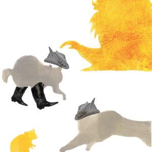 Inprint : un chat apeuré devant le lion, et un chat qui attaque une souris.