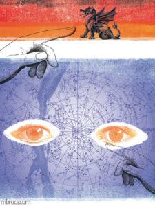 Inprint : une carte, des yeux et un dragon