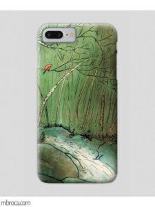 Inprint : Coque de smartphone, un oiseau rouge dans une foret