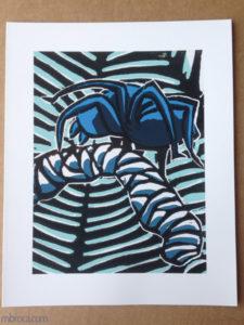 Impression papier , Inprint, une areignée bleue.