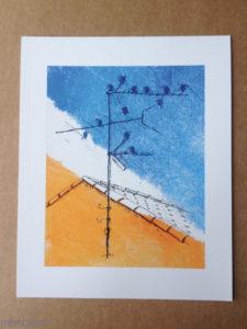 Inprint : impression papier, des oiseaux sur une antenne