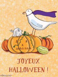 carte merci facteur, joyeux Halloween