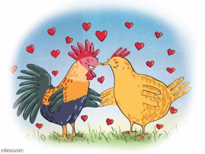 un coq et une poule qui se tiennent pal une aile et entourés de coeurs